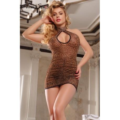 20154- Sexy babydoll leopard dress