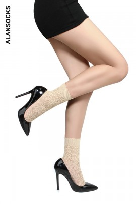 HD208- Socks above the ankle in mesh fabric with designs