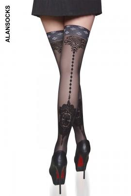 2115- 时尚复古提花长筒袜/大腿袜