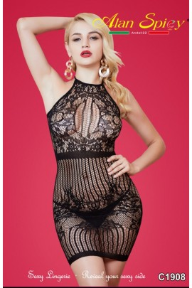 C1908- Sexy Lingerie: Bodystocking in mesh knit