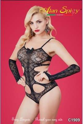 C1909- Sexy Lingerie: Bodystocking in mesh knit