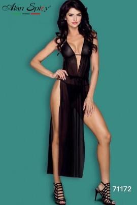 71172- Robe nuisette noire sexy avec des bonnets en dentelle et de fines bretelles