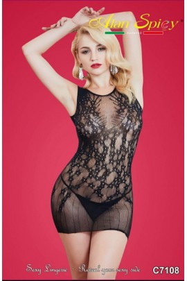 C7108- Sexy Lingerie: Bodystocking in mesh knit