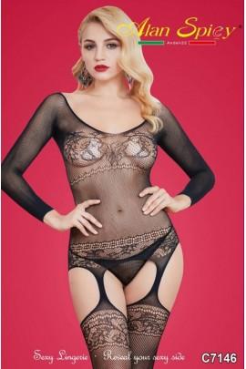 C7146- Lingerie sexy: Bodystocking in maglia a rete