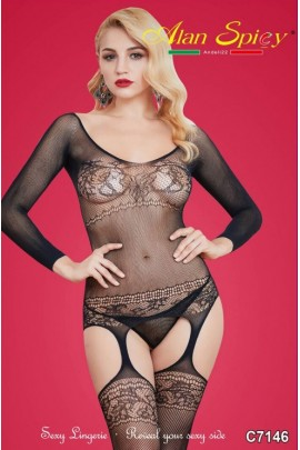 C7146- Sexy Lingerie: Bodystocking in mesh knit