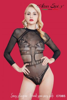C7085- Sexy Lingerie: Bodystocking in mesh knit