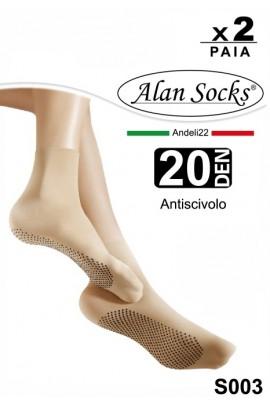 S003 - Non-slip Short Socks 20D - 2 pairs